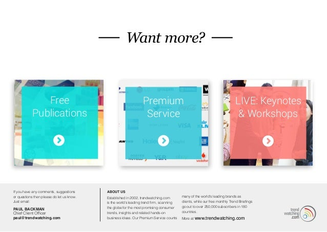 MORE...  Want more?  Free  Publications  Premium  Service  LIVE: Keynotes  & Workshops  If you have any comments, suggesti...