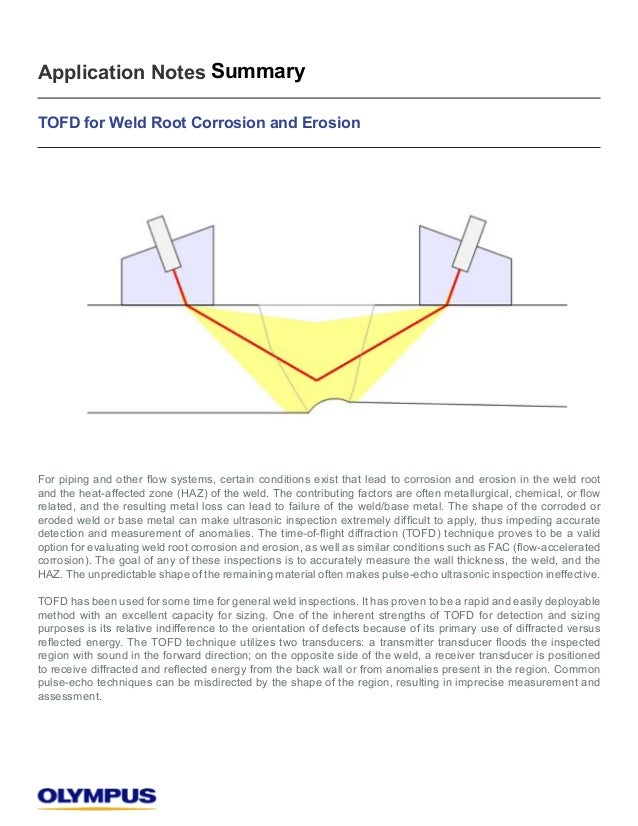 Application Notes Summary  TOFD for Weld Root Corrosion and Erosion  )RUSLSLQJDQGRWKHUÀRZVVWHPVFHUWDLQFRQGLWLRQVH[LVWWKDWO...