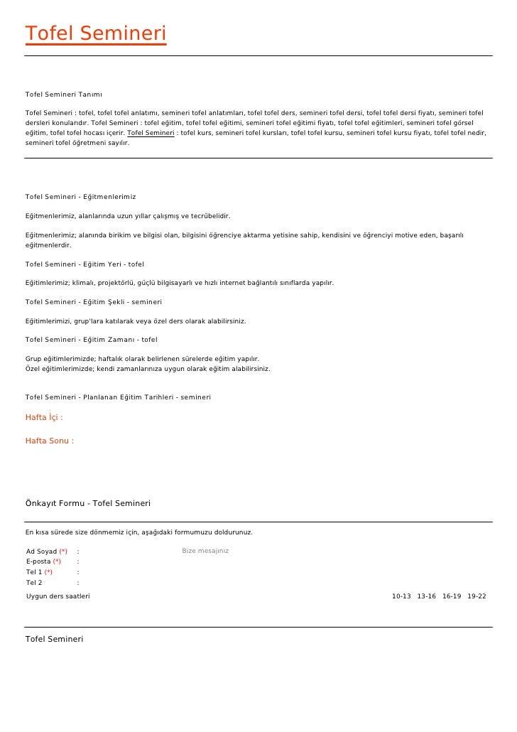 Tofel SemineriTofel Semineri TanımıTofel Semineri : tofel, tofel tofel anlatımı, semineri tofel anlatımları, tofel tofel d...