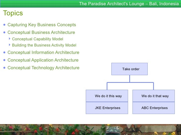 The Paradise Architects Lounge – Bali, IndonesiaTopics● Capturing Key Business Concepts● Conceptual Business Architecture ...