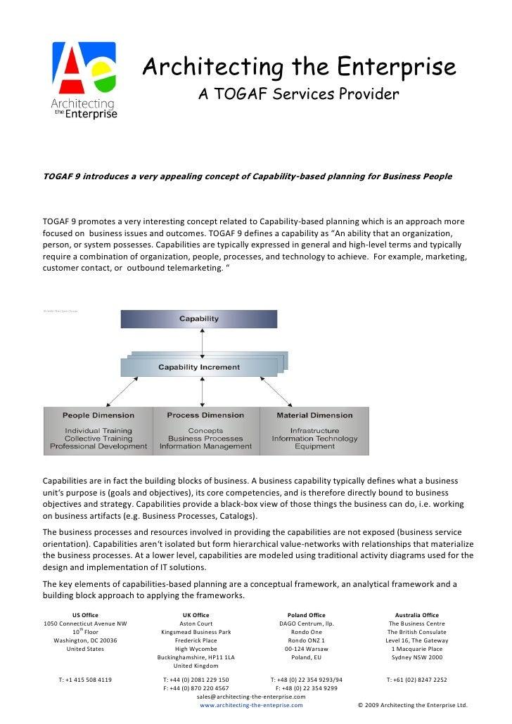 Architecting the Enterprise                                             A TOGAF Services Provider     TOGAF 9 introduces a...