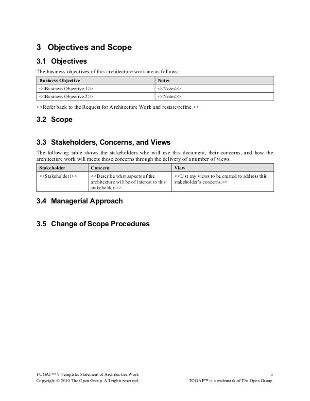togaf 9 template statement of architecture work