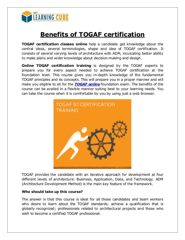 Togaf Certification Online By Mylearningcube