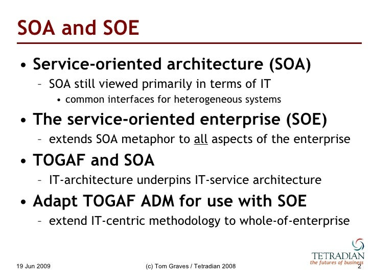 Enterprise-architecture and the service-oriented enterprise