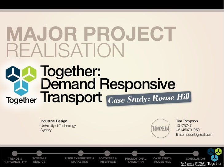 MAJOR PROJECT REALISATION          Together:          Demand Responsive Together Transport Case Study: Rouse Hill         ...