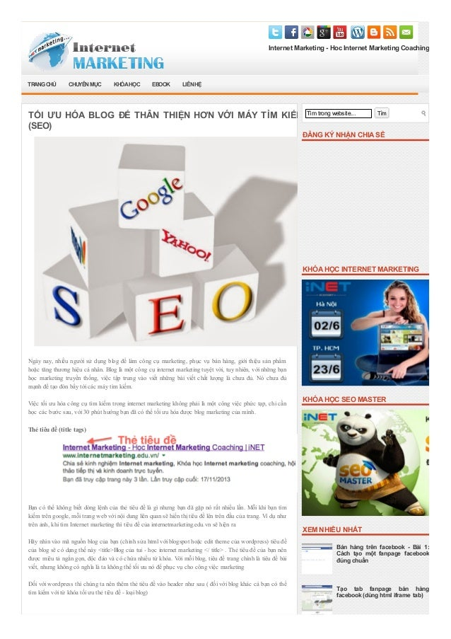 Internet Marketing - Hoc Internet Marketing Coaching Tìm trong website... Tìm ĐĂNG KÝ NHẬN CHIASẺ KHÓAHỌC INTERNET MARKETI...