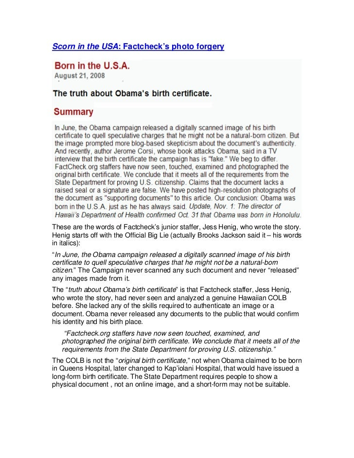 Factcheck.org forged Obama\'s birth certificate