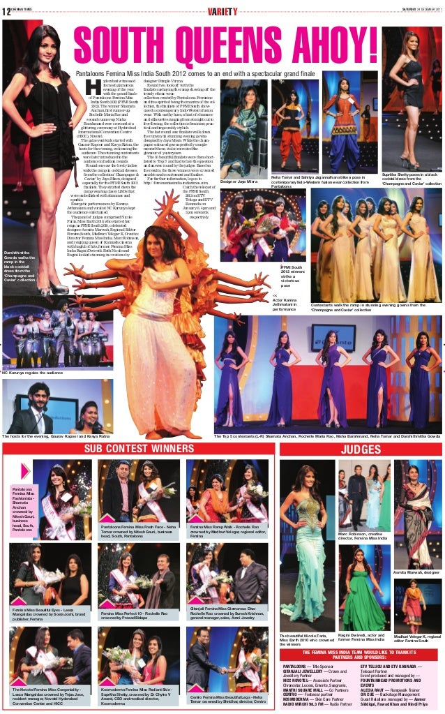 SATURDAY 24 DECEMBER 2011 VARIETYCHENNAI TIMES 12 H yderabad witnessed its most glamorous evening of the year with the gra...