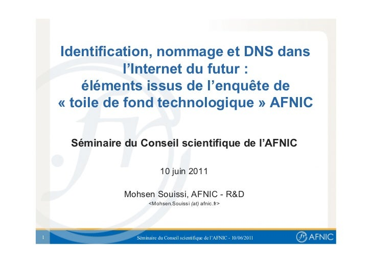 Identification, nommage et DNS dans               l'Internet du futur :        éléments issus de l'enquête de    « toile d...