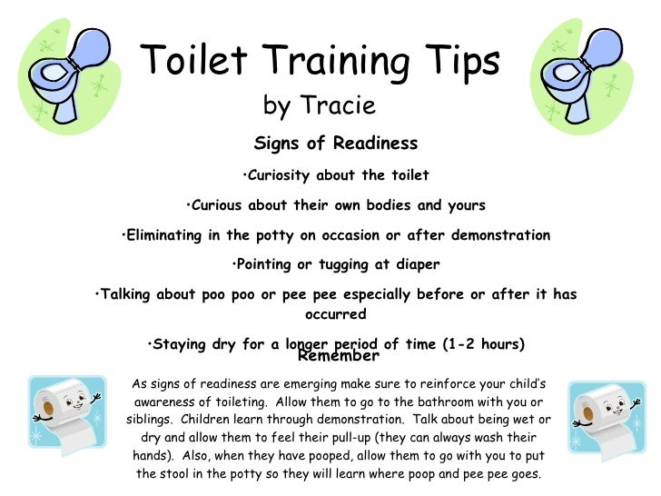 Toilet Training Tips by Tracie Signs of Readiness Curiosity about the ...