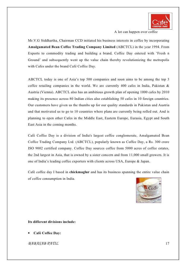 to improve sales at caf coffee day project report