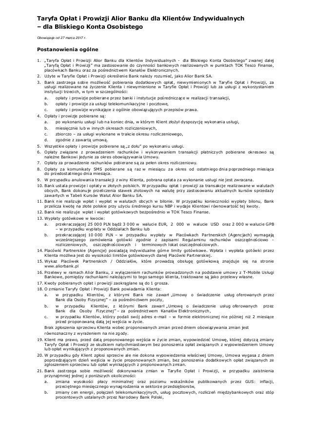 Taryfa Opłat i Prowizji Alior Banku dla Klientów Indywidualnych – dla Bliskiego Konta Osobistego Obowiązuje od 27 marca 20...