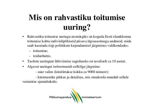Eesti elanike toitumise uuring - MIKS on vajalik? Slide 2