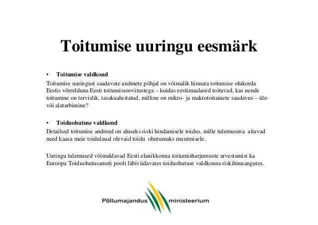 Eesti elanike toitumise uuring - MIKS on vajalik? Slide 3