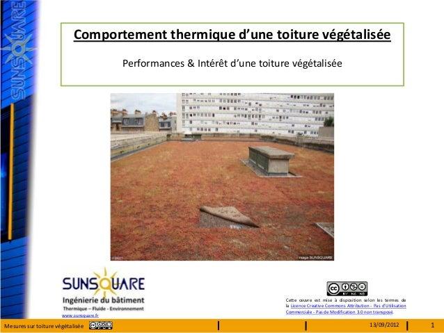 Comportement thermique d'une toiture végétalisée                                         Performances & Intérêt d'une toit...