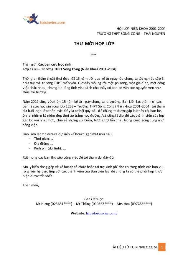 TÀI LIỆU TỪ TOIXINVIEC.COM 1 HỘI LỚP NIÊN KHOÁ 2001-2004 TRƯỜNG THPT SÔNG CÔNG – THÁI NGUYÊN THƯ MỜI HỌP LỚP *** Thân gửi:...