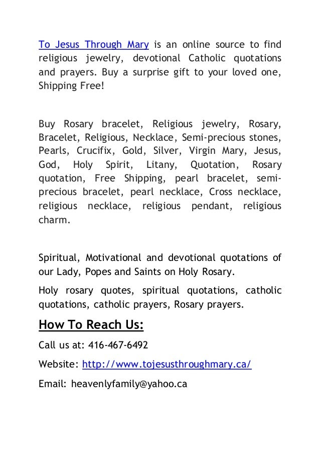 To Jesus Through Mary - A Catholic Rosary Store