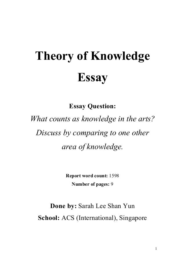 extended essay theory of knowledge The extended essay of some 4,000 words offers the opportunity for ib students to investigate a topic of special interest, usually one of the student's six diploma.