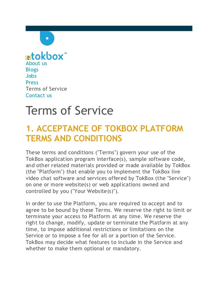 About usBlogsJobsPressTerms of ServiceContact usTerms of Service1. ACCEPTANCE OF TOKBOX PLATFORMTERMS AND CONDITIONSThese ...