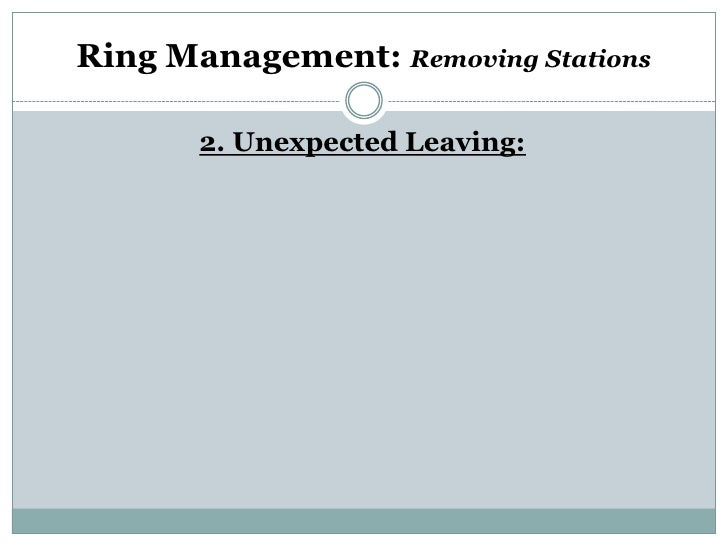 Ring Management: Removing Stations       2. Unexpected Leaving: