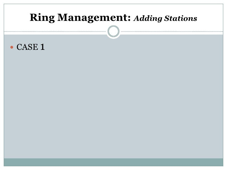 Ring Management: Adding Stations CASE 1