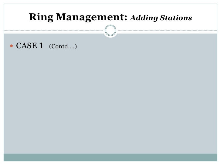 Ring Management: Adding Stations CASE 1 (Contd….)