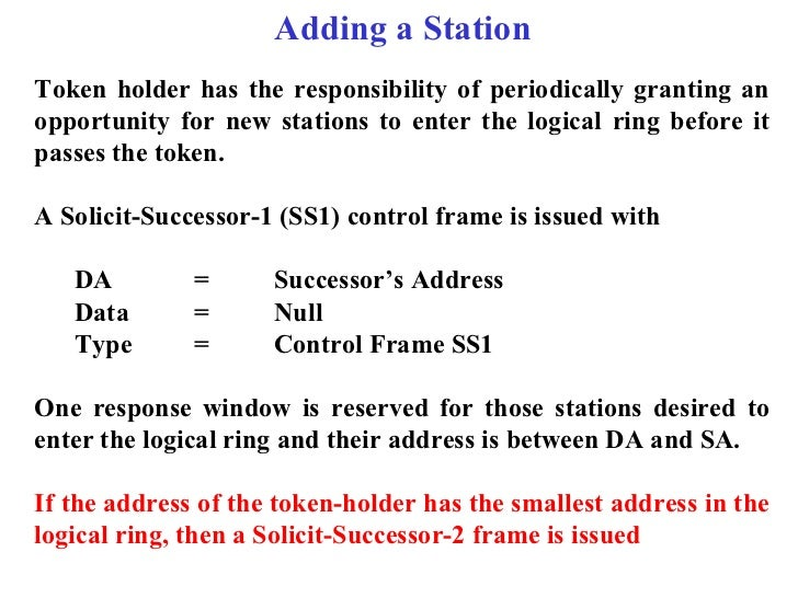 Adding a StationToken holder has the responsibility of periodically granting anopportunity for new stations to enter the l...
