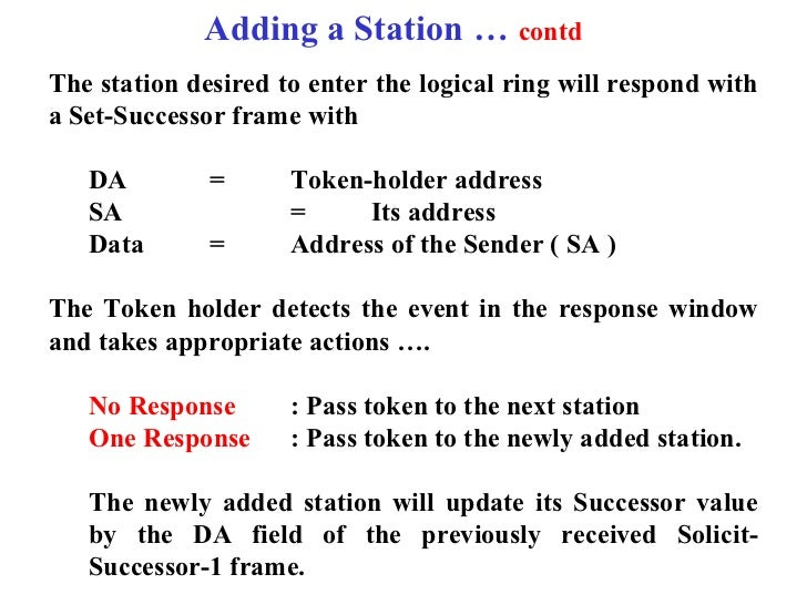 Adding a Station … contdThe station desired to enter the logical ring will respond witha Set-Successor frame with   DA    ...