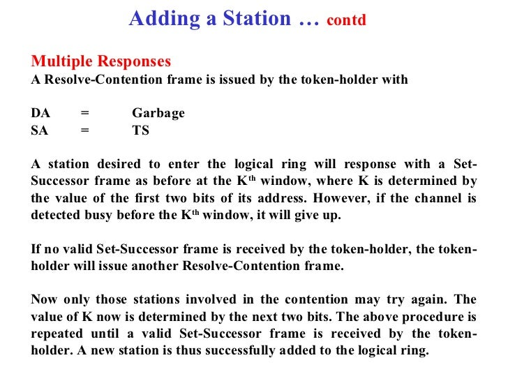 Adding a Station … contdMultiple ResponsesA Resolve-Contention frame is issued by the token-holder withDA      =        Ga...