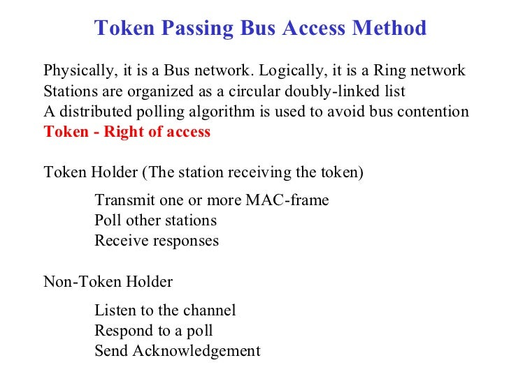 Token Passing Bus Access MethodPhysically, it is a Bus network. Logically, it is a Ring networkStations are organized as a...