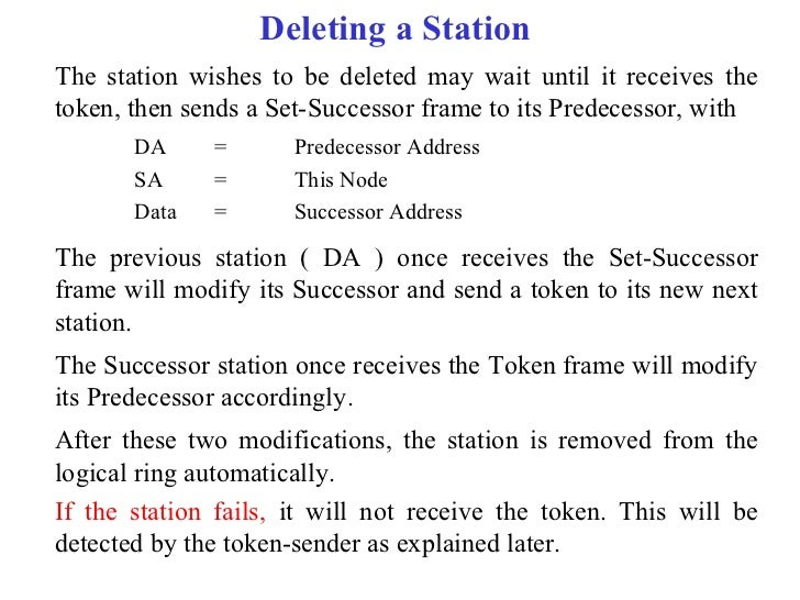 Deleting a StationThe station wishes to be deleted may wait until it receives thetoken, then sends a Set-Successor frame t...