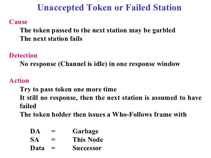 Unaccepted Token or Failed StationCause   The token passed to the next station may be garbled   The next station failsDete...