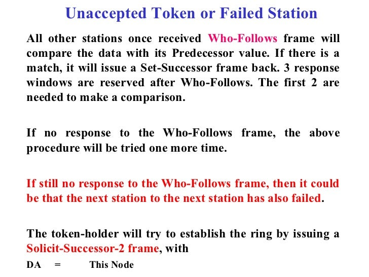Unaccepted Token or Failed StationAll other stations once received Who-Follows frame willcompare the data with its Predece...
