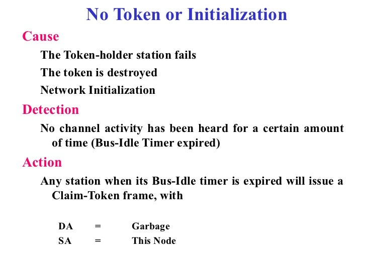 No Token or InitializationCause  The Token-holder station fails  The token is destroyed  Network InitializationDetection  ...