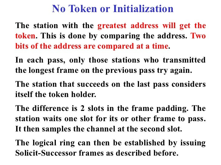 No Token or InitializationThe station with the greatest address will get thetoken. This is done by comparing the address. ...