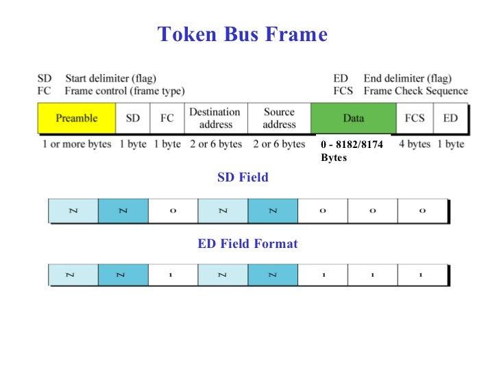 Token Bus Frame                     0 - 8182/8174                     Bytes     SD Field   ED Field Format