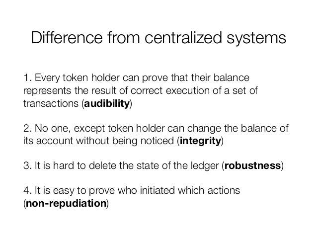 Difference from centralized systems 1. Every token holder can prove that their balance represents the result of correct ex...