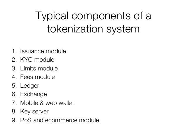 Typical components of a tokenization system 1. Issuance module 2. KYC module 3. Limits module 4. Fees module 5. Ledger 6. ...
