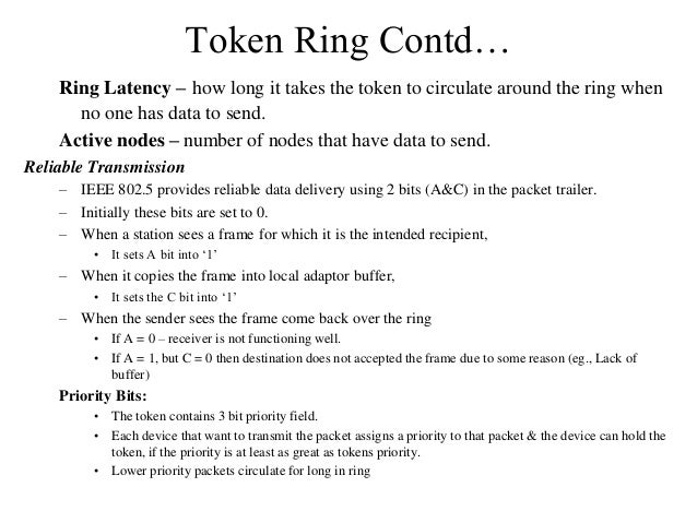 Token Ring Contd… Ring Latency – how long it takes the token to circulate around the ring when no one has data to send. Ac...