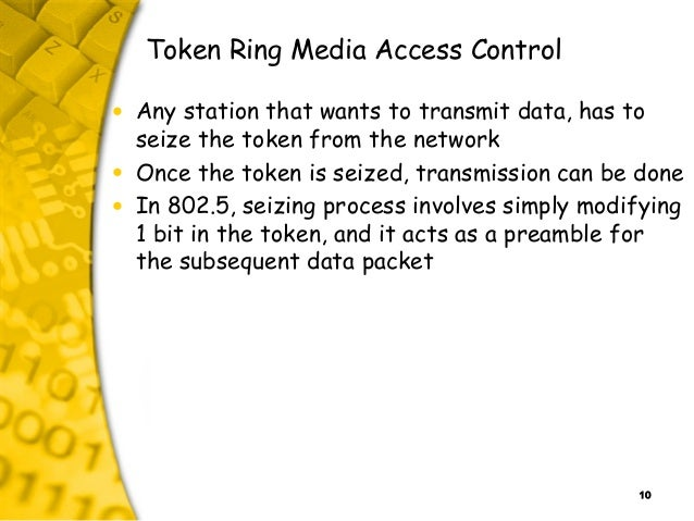 10 Token Ring Media Access Control • Any station that wants to transmit data, has to seize the token from the network • On...