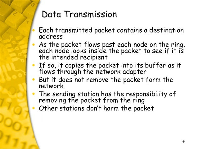 11 Data Transmission • Each transmitted packet contains a destination address • As the packet flows past each node on the ...