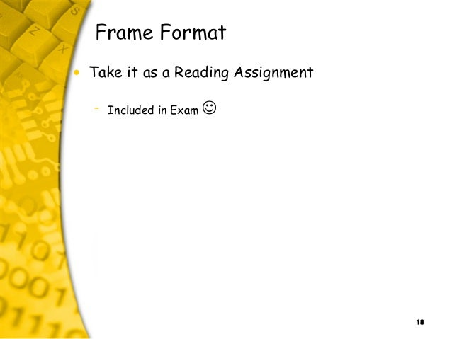 18 Frame Format • Take it as a Reading Assignment – Included in Exam 
