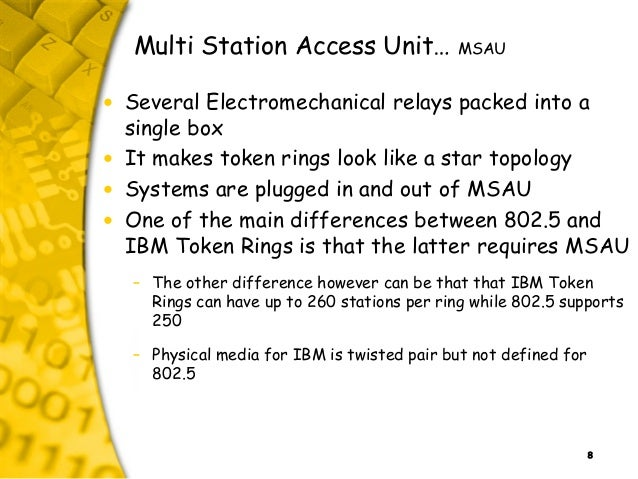 8 Multi Station Access Unit… MSAU • Several Electromechanical relays packed into a single box • It makes token rings look ...