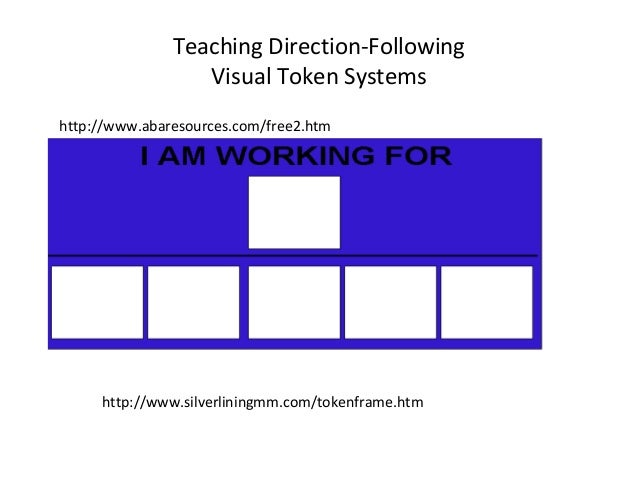 Teaching Direction-Following                  Visual Token Systemshttp://www.abaresources.com/free2.htm     http://www.sil...