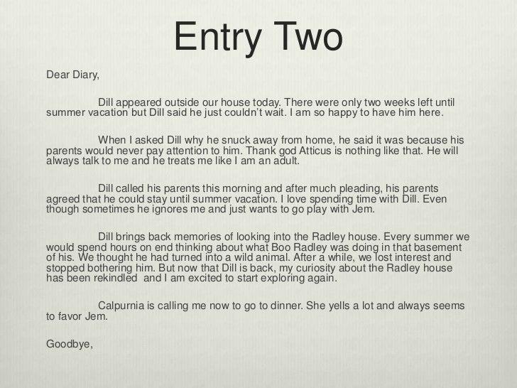 Creative writing diary entry ideas house
