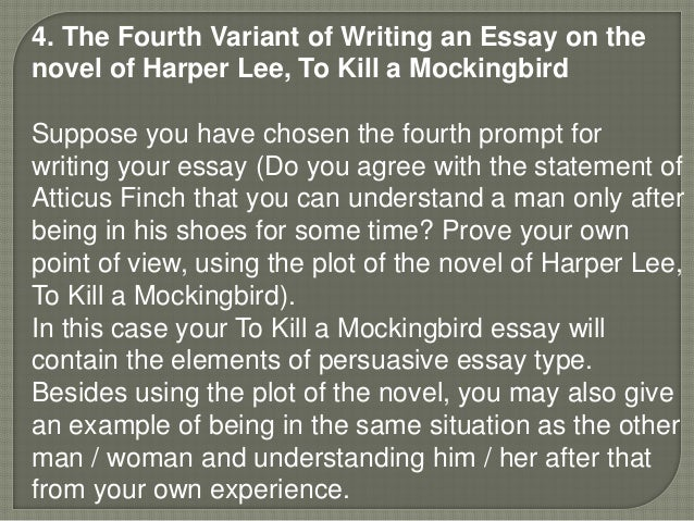 essay question for to kill a mockingbird An essay must contain an introduction, a body, and a conclusion  lower levels,  a 5-section essay could even have 3 paragraphs an essay question on a.