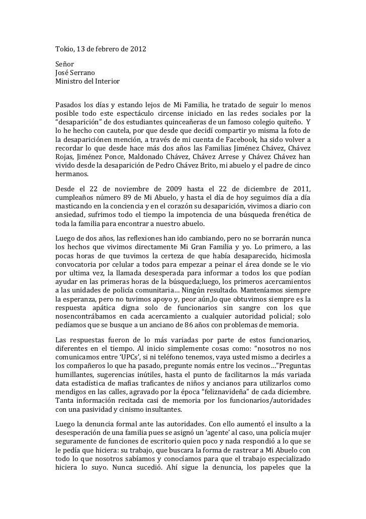 Carta dirigida al sr jose serrano ministro del interior for Correo ministerio del interior