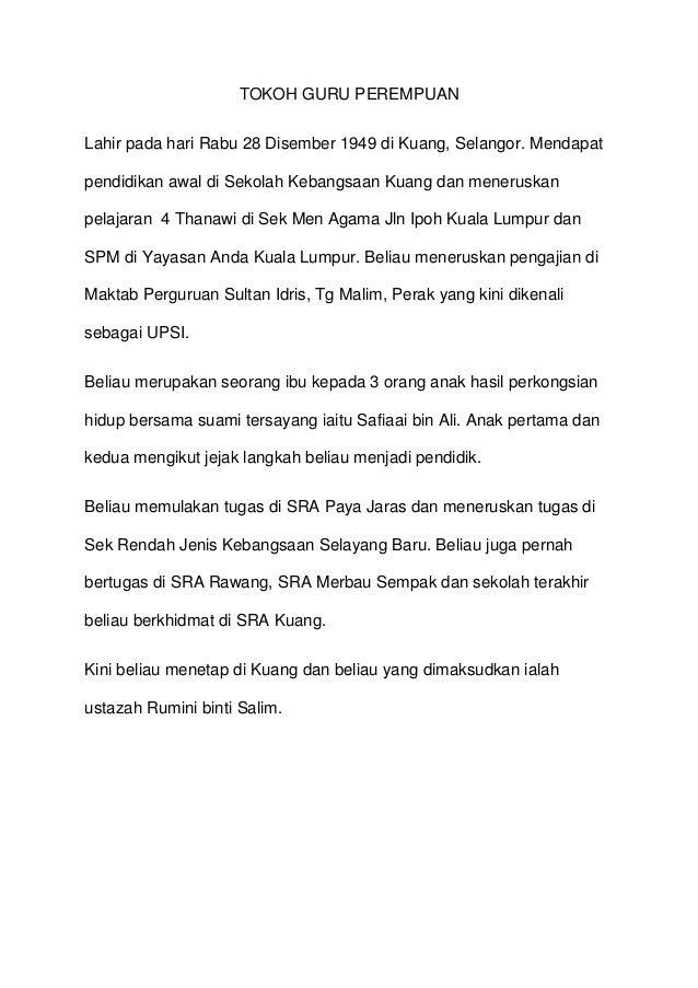 TOKOH GURU PEREMPUAN Lahir pada hari Rabu 28 Disember 1949 di Kuang, Selangor. Mendapat pendidikan awal di Sekolah Kebangs...