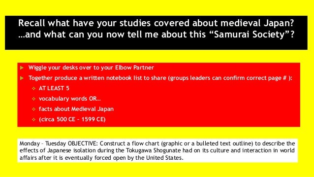 """Recall what have your studies covered about medieval Japan? …and what can you now tell me about this """"Samurai Society""""?  ..."""