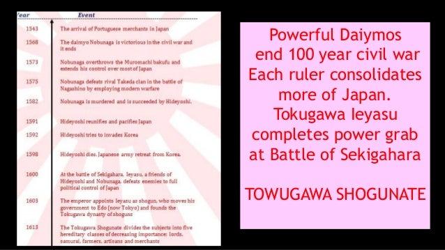 Powerful Daiymos end 100 year civil war Each ruler consolidates more of Japan. Tokugawa Ieyasu completes power grab at Bat...
